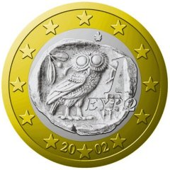Obverse of 2002 Greek 1 Euro